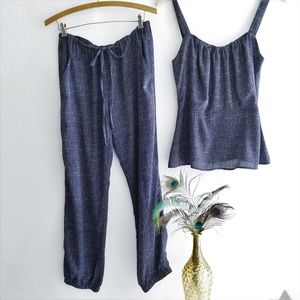 Cabi Navy Blue Pant Set With Peblum Top
